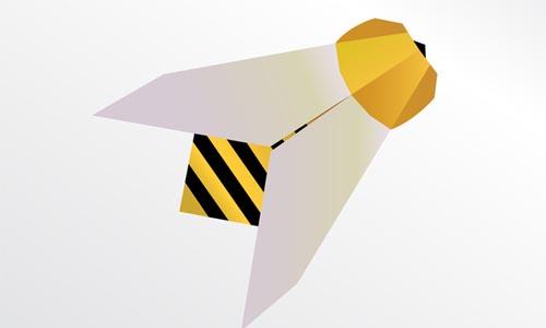 Origami bee, illustration